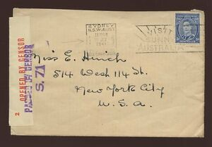 AUSTRALIA-1941-COVER-OVERSEAS-BOX-SUNNY-SLOGAN-OPENED-PASSED-CENSORS-to-USA