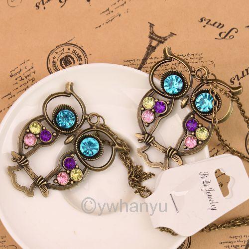 New 10pcs Wholesale Jewellery Fashion Vintage Rhinestone OWL Chain Necklace