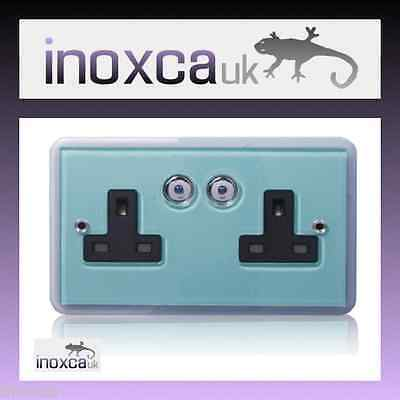 2 X HOME EASY GLASS DOUBLE REMOTE CONTROL SOCKET HE109G 2G 2 GANG BYRON 3000W