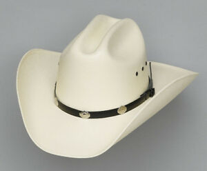 COWBOY-STRAW-CATTLEMAN-HAT-SILVER-CONCHOS-L-to-XL-7-1-4-to-7-5-8-or-58-61-cm
