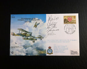 RAF-B6-Flown-amp-Signed-FDC-D-H-4-70th-Aniversary-Crew-Signed-by-5-AFTAL
