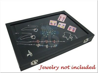 GLASS TOP JEWELRY DISPLAY HOLDER TRAY SHOWCASE CASE BOX