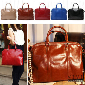 LEATHER Women BOWLER TOTE SATCHEL Large Soft Work Briefcase ...