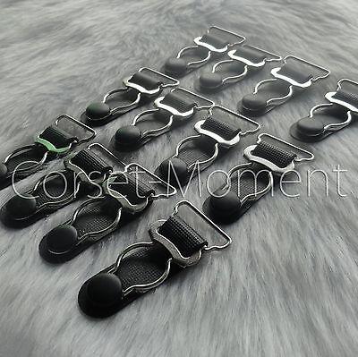 Black Steel Corset SUSPENDER Clips / Garter Grips Corset Sewing Supplies
