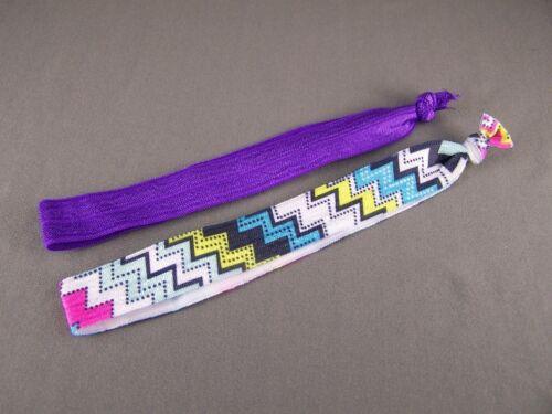 Purple zigzag set pack of 2 Kids Girls stretch elastic headband childrens