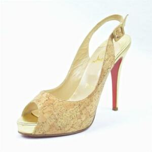 louis vuitton red bottom sneakers for men - CHRISTIAN LOUBOUTIN Womens High Heel Cork Gold Slingback Platform ...
