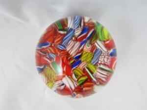 Vintage-Round-Murano-Art-Glass-Millefiori-Scrambled-Canes-Paperweight
