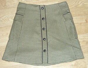 Military-Style-Button-Through-Short-Skirt-Designer-PIED-A-TERRE-RRP-60