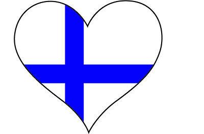 HEART FILLED WITH FINLAND / FINNISH FLAG STICKER - car bumper  10 cm x 10 cm