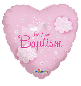 18 baptism pink dove heart shaped mylar foil balloon for Heart shaped decorations home