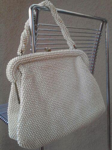 Elegant Vintage Evening Handbag, Lumured Corde' Bead Made in USA, Champagne