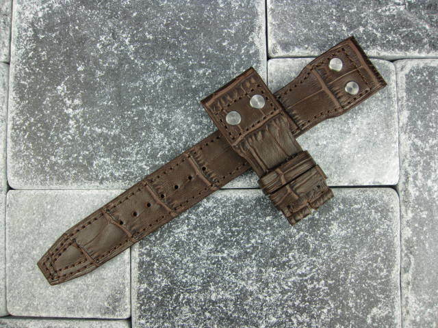 22mm Grain Leather Strap with Rivet watch Band IWC BIG PILOT Brown 22 mm K