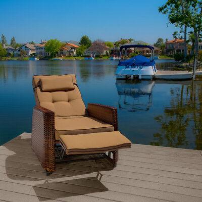 Outdoor Patio Furniture Wicker Glider Recliner Armchair