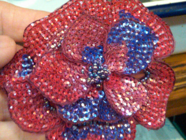 """Red Hat 3.5"""" Glass Beads SEQUINS FLOWER 3-D  Pin 1pc"""
