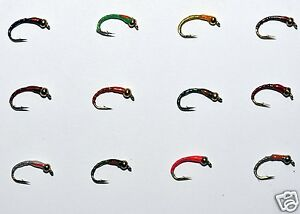 GOLD-HEAD-EPOXY-BUZZER-SET-OF-12-FLIES-COLOURS-choose-your-size-by-Dragonflies