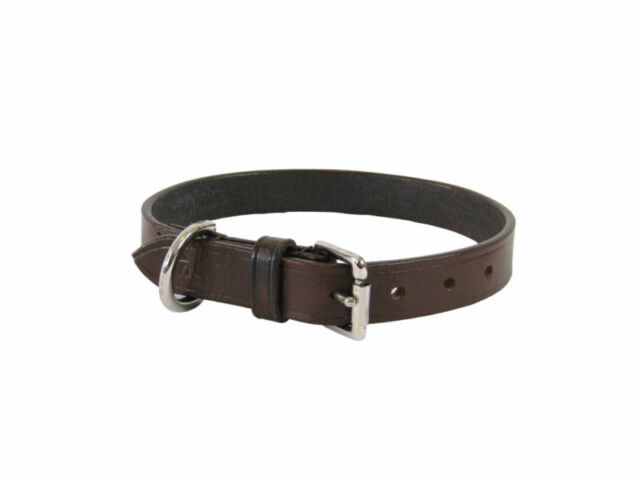 PLAIN REAL LEATHER DOG COLLAR BROWN SEWN SIZE 24''