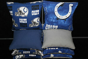 Cornhole Bean Bags w INDIANAPOLIS COLTS Fabric 8 ACA Regulation Game Toss Bags