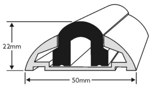 BOAT,YACHT 3.65M ALUMINIUM BOAT FENDER 50MM BASE WITH BLACK INSERT