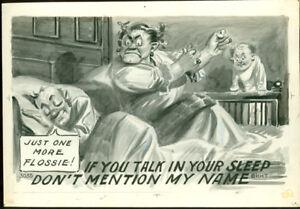 1910-ORIG-ART-LG-TAMMEN-POSTCARD-ARTWORK-MAN-CHEATS-TALKS-IN-SLEEP-SALE-AD590