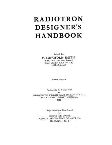 RCA Radiotron Designer's Handbook 4th Edition (1539 Pages)