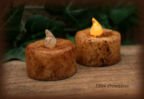 2 - Grungy Burnt Ivory Tea Lights plus 12 extra batteries