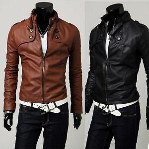 NEW-Men-039-s-Slim-Designed-Sexy-PU-Leather-Short-Jacket-Coat-rider-zip-zipper-style