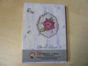 LILAC-amp-CREAM-FLORAL-PHOTO-ALBUM-200-PHOTOS-4x6-SLIP-IN-POCKETS-WITH-MEMO-SLIPS