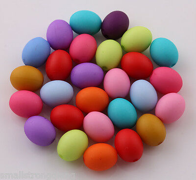 100 pcs 10mm mixed color acrylic Oval Matte beads spacer findings charms