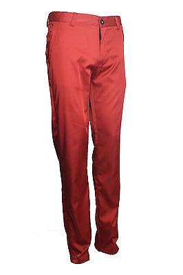 Mens Smart Casual White Dark Brown Cream Red Orange Trouser Chino Slim Fit Silk