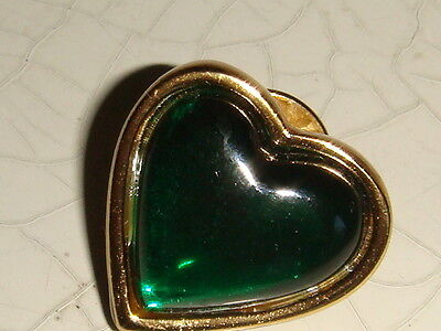 YVES SAINT LAURENT YSL RIVE GAUCHE GREEN HEART BROOCH VINTAGE