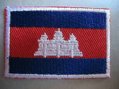 Cambodian Flag Small Iron On/ Sew On Patch Badge CAMBODIA Preăh Réachéanachâk Kâ