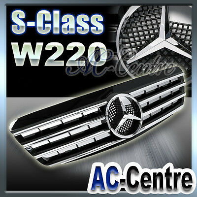 MERCEDES BENZ S CLASS FRONT GRILLE W220 S430 S500 S600 AMG 2000-2002 SPORT BLACK