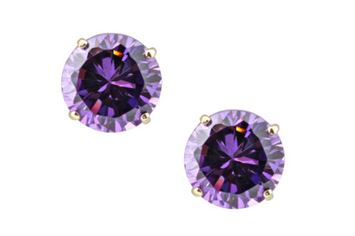 1.00 CARAT 14K SOLID YELLOW GOLD AMETHYST ROUND SHAPE STUD EARRINGS