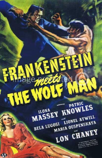 Frankenstein Meets the Wolf Man Vintage Movie Poster
