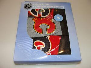 Calgary-Flames-NHL-Hockey-Age-6-Set-of-3-Piece-Boys-Underwear-Briefs-Box-Set