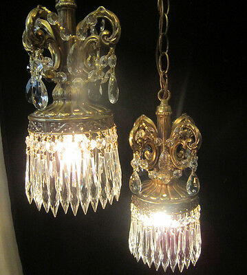 Vintage ROCOCO double swag ceiling lamp 2light chandelier spelter brass plated