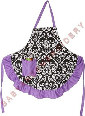 Damask Apron Smock Purple Black Adult Embroidery Option