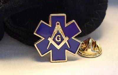 Masonic Emergency Medical EMS EMT Ambulance Star Of Life Lapel Pin & Gift Pouch