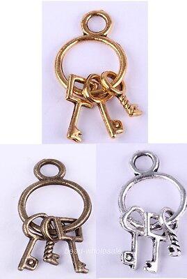 Hotsale Antique Silver/Golden/Bronze 25pcs Key Findings Charm Pendant 27mm