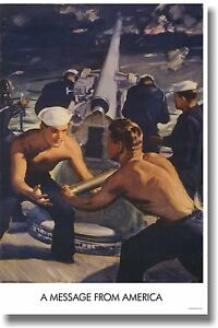 Message-from-America-Vintage-WW2-U-S-Navy-Art-Print-Reproduction-POSTER