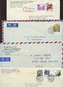 CHINA-1983-96-8-Covers-COLLECTION-AIRMAILS-to-USA