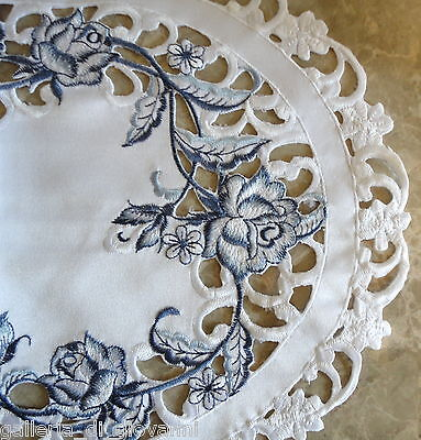 """DUTCH DELFT  Lace Doily  70"""" Table Runner White & Blue Rose"""