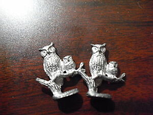 Unique-Lot-of-2-Miniature-Pewter-Owls-on-Tree-Branch-Figurines
