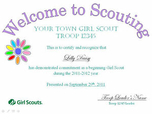 Girl Scout Welcome/Investiture/Bridging Certificates!
