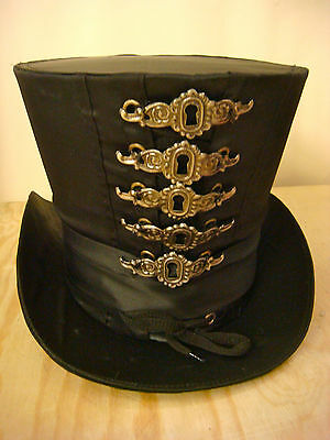 Steampunk  Hand made Black Satin Top Hat with metal keyhole decoration