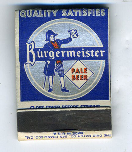 1930s Advertising Matchbook for Burgermeister Beer San Francisco CA