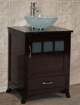 "24"" Bathroom Vanity Cabinet Black Granite Stone Top with Glass Vessel Sink TR8"
