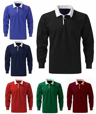 Mens Premium Cotton Rugby Shirts Size XS to 3XL - WORK CASUAL SPORTS LEISURE 401
