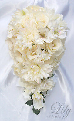RESERVED LISTING 10 Pieces Wedding Bridal Bouquet Flowers Ivory Cascade Silk