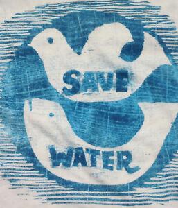 Juniors-XS-S-M-L-Save-Water-Fish-Bird-Half-T-shirt-tee